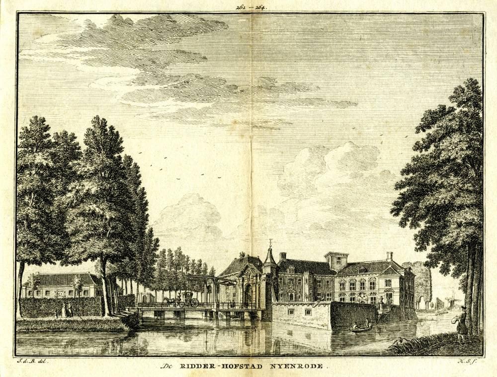 Kasteel Nijenrode in Breukelen. Tekening Jan de Beijer, gravure Hendrik Spilman(Uit: Het Verheerlykt Nederland, Isaac Tirion, 1745/1774)